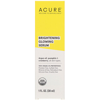 Acure, Brilliantly Brightening, Glowing Serum, 1 fl oz (30 ml)
