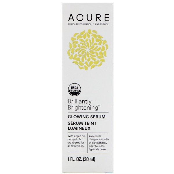 Acure Organics, Brilliantly Brightening, Glowing Serum, 1 fl oz (30 ml)