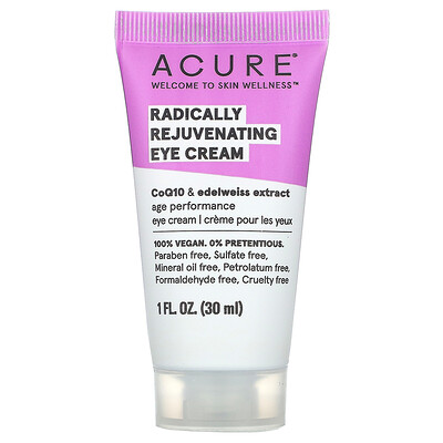 Купить Acure Крем для глаз, со стволовыми клетками хлореллы и эдельвейса, 1 жидкая унция (30 мл)