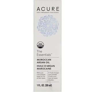 Acure, The Essentials, Moroccan Argan Oil, 1 fl oz (30 ml)