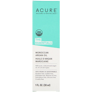 Acure, The Essentials, Óleo de Argan Marroquino, 1 fl oz (30 ml)