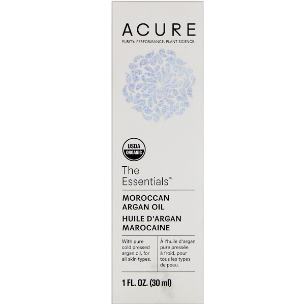 Acure Organics, The Essentials, Moroccan Argan Oil, 1 fl oz (30 ml)
