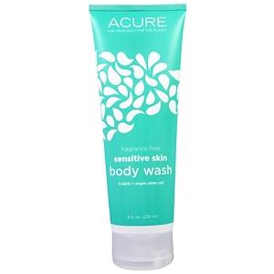 Acure Organics, Шампунь для тела для чувствительной кожи, без ароматизаторов, 235 мл инструкция, применение, состав, противопоказания