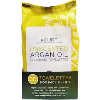 Acure Organics, Cleansing Towelettes, For Face & Body, Unscented, 30 Towelettes