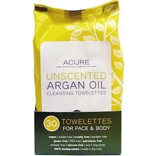 Acure Organics, 클렌징 타월레트, 얼굴과 몸을 위한, 무향, 30 개입