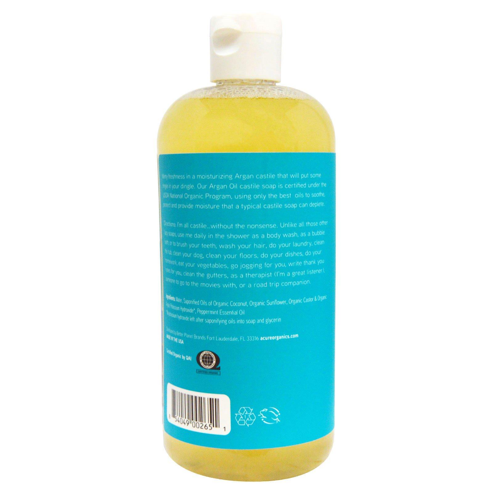 Acure, Argan Oil Castile Soap, Peppermint, 16 oz (473 1 ml) (Discontinued  Item)