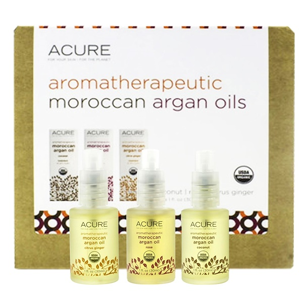 Acure, Aromatherapeutic Moroccan Argan Oils Trio Set, Coconut, Rose, Citrus Ginger, 3,1 fl oz (30 ml) Each (Discontinued Item)