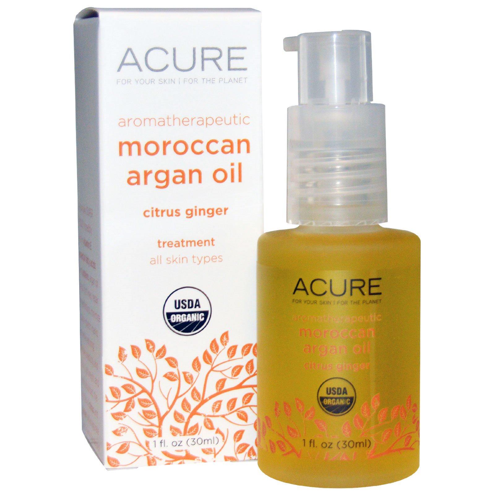 Acure Organics, Ароматерапевтическое марокканское масло аргана, цитрусовый имбирь, 30 мл (1 жидкая унция)