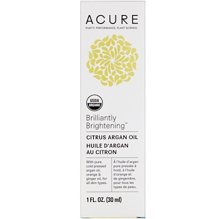 Acure Organics, Brilliantly Brightening, Citrus Argan Oil, 1 fl oz (30 ml)