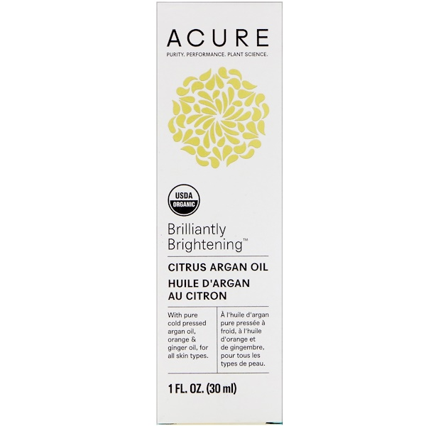 Acure, Brilliantly Brightening, Citrus Argan Oil, 1 fl oz (30 ml) (Discontinued Item)