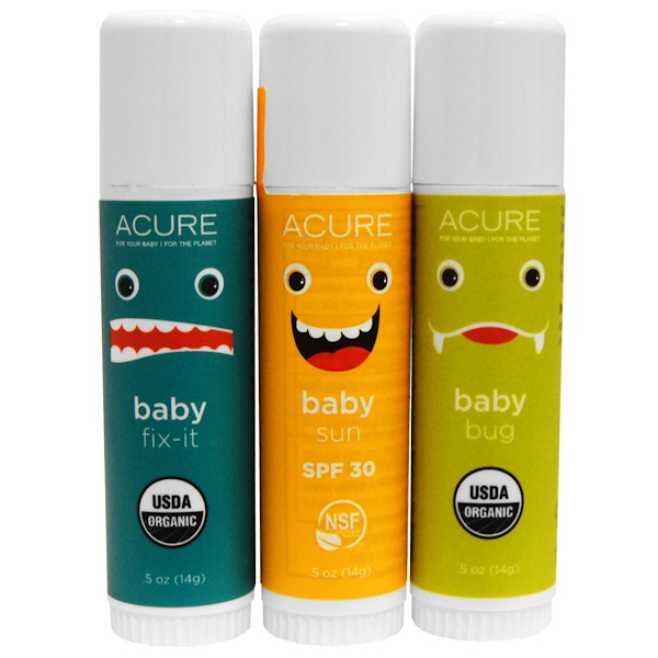 Acure, Baby's Day Out Kit, 3 Pack, 0.5 oz (14 g) Each (Discontinued Item)