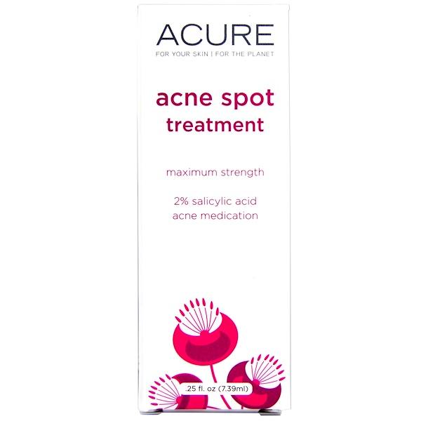 Acure, Acne Spot Treatment, Maximum Strength, .25 fl oz (7.39 ml) (Discontinued Item)