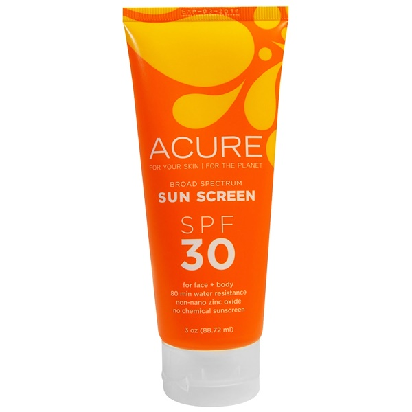 Acure, Sunscreen SPF 30 For Face + Body, 3 oz (88.72 ml) (Discontinued Item)