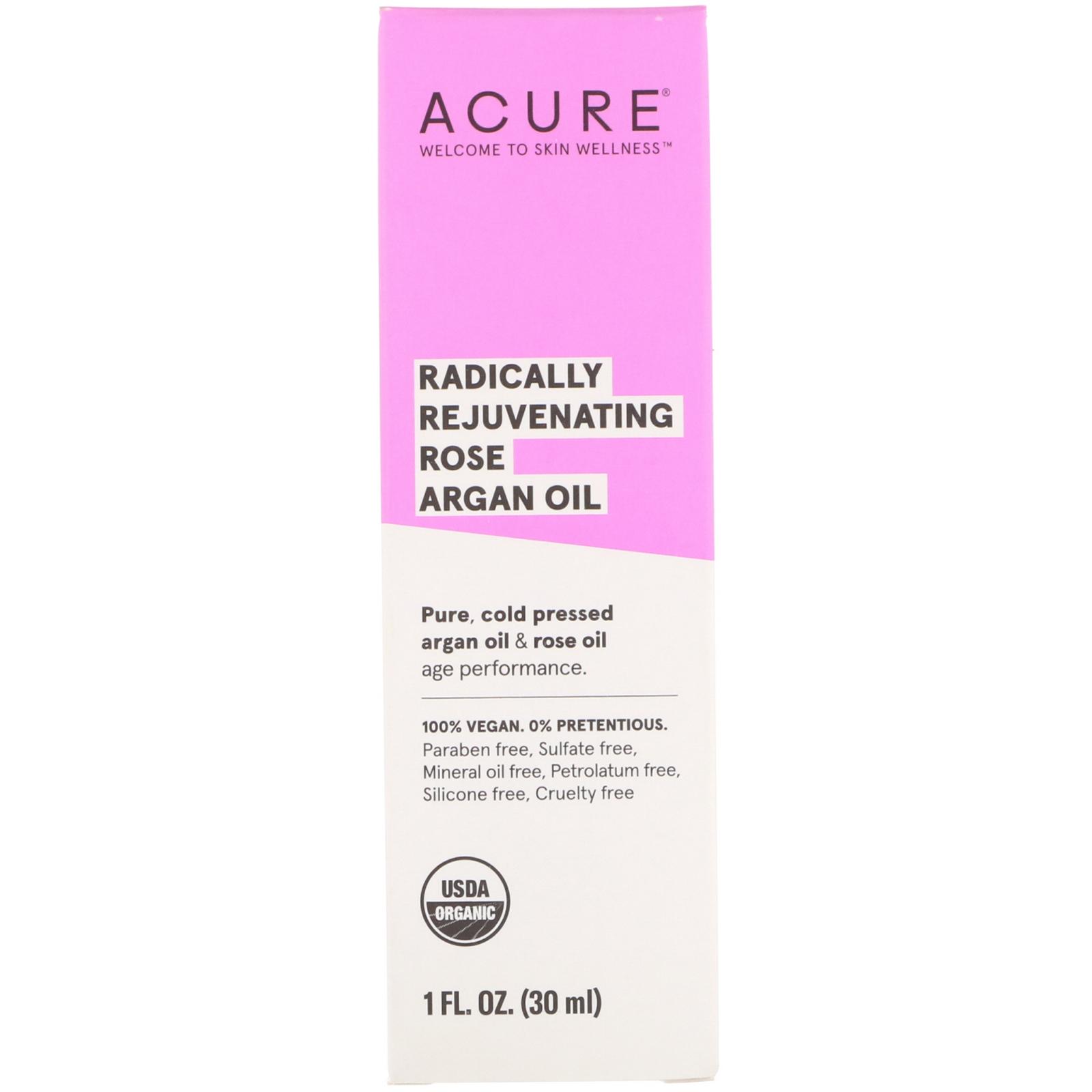 Acure, Radically Rejuvenating Rose Argan Oil, 1 Fl Oz (30