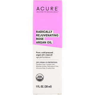 Acure, Radically Rejuvenating, Rose Argan Oil, 1 fl oz (30 ml)
