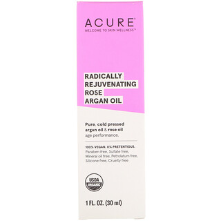 Acure, Radically Rejuvenating Rose Argan Oil, 1 fl oz (30 ml)