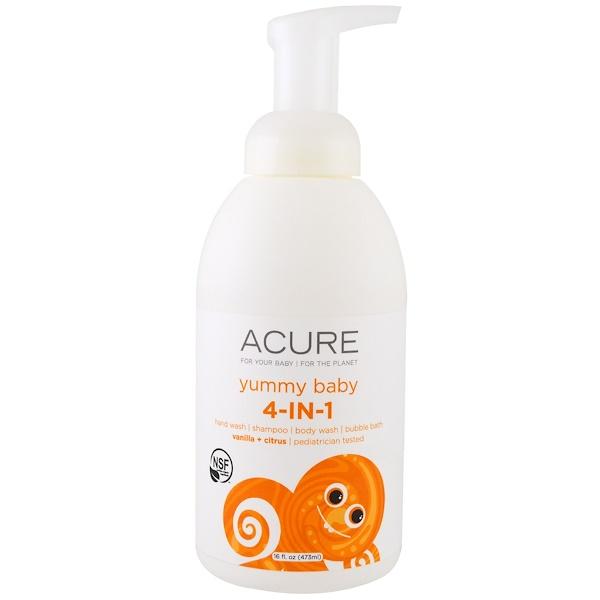 Acure, Yummy Baby, 4-in-1 Foamer, Vanilla + Citrus , 16 fl oz (473 ml) (Discontinued Item)