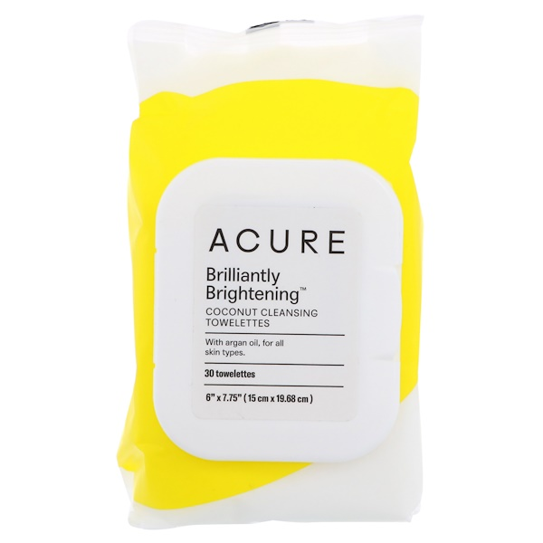 Acure, Brilliantly Brightening, Coconut Cleansing Towelettes , 30 Towelettes