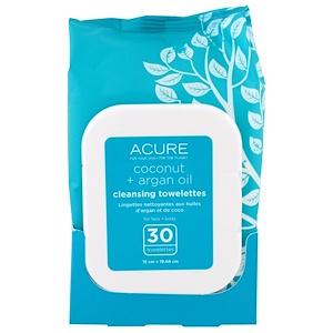 Acure Organics, Очищающие Влажные Салфетки, Кокосовое + Аргановое Масло, 30 Салфеток купить на iHerb
