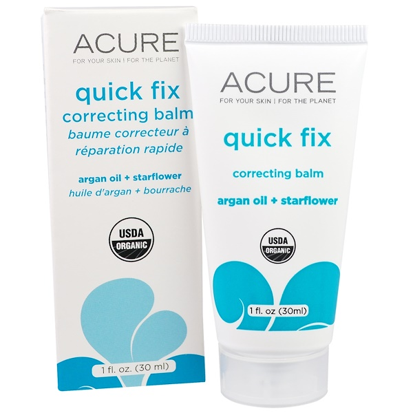 Acure, Quick Fix Correcting Balm, Argan Oil + Starflower, 1 fl oz (30 ml) (Discontinued Item)