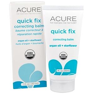 Acure Organics, «Быстрая коррекция», корректирующий бальзам с аргановым маслом и огуречником, 1 жидкая унция (30 мл) купить на iHerb