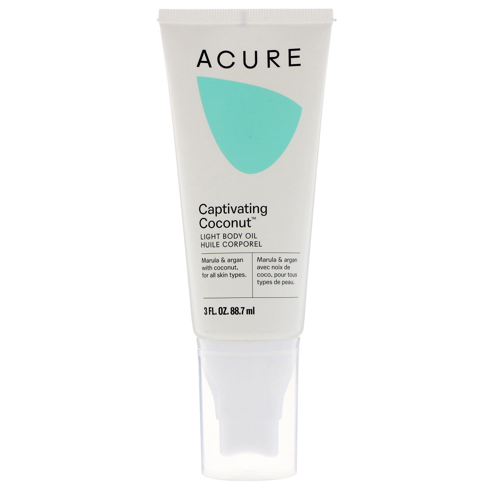 Acure, Light Body Oil, Captivating Coconut, 3 Fl Oz (88.7