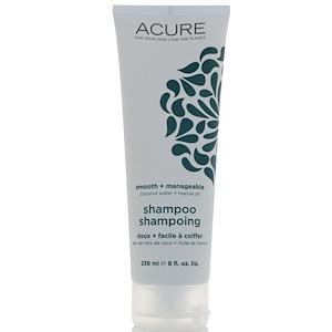 Acure Organics, Гладкий + податливый шампунь, Кокосовая вода + масло марулы, 8 ж. унц. (236 мл) купить на iHerb