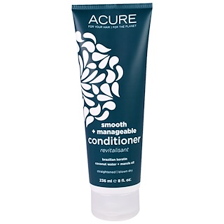 Acure Organics, Smooth + Manageable Conditioner, Brazilian Keratin Coconut Water + Marula Oil, 8 fl oz (236 ml)
