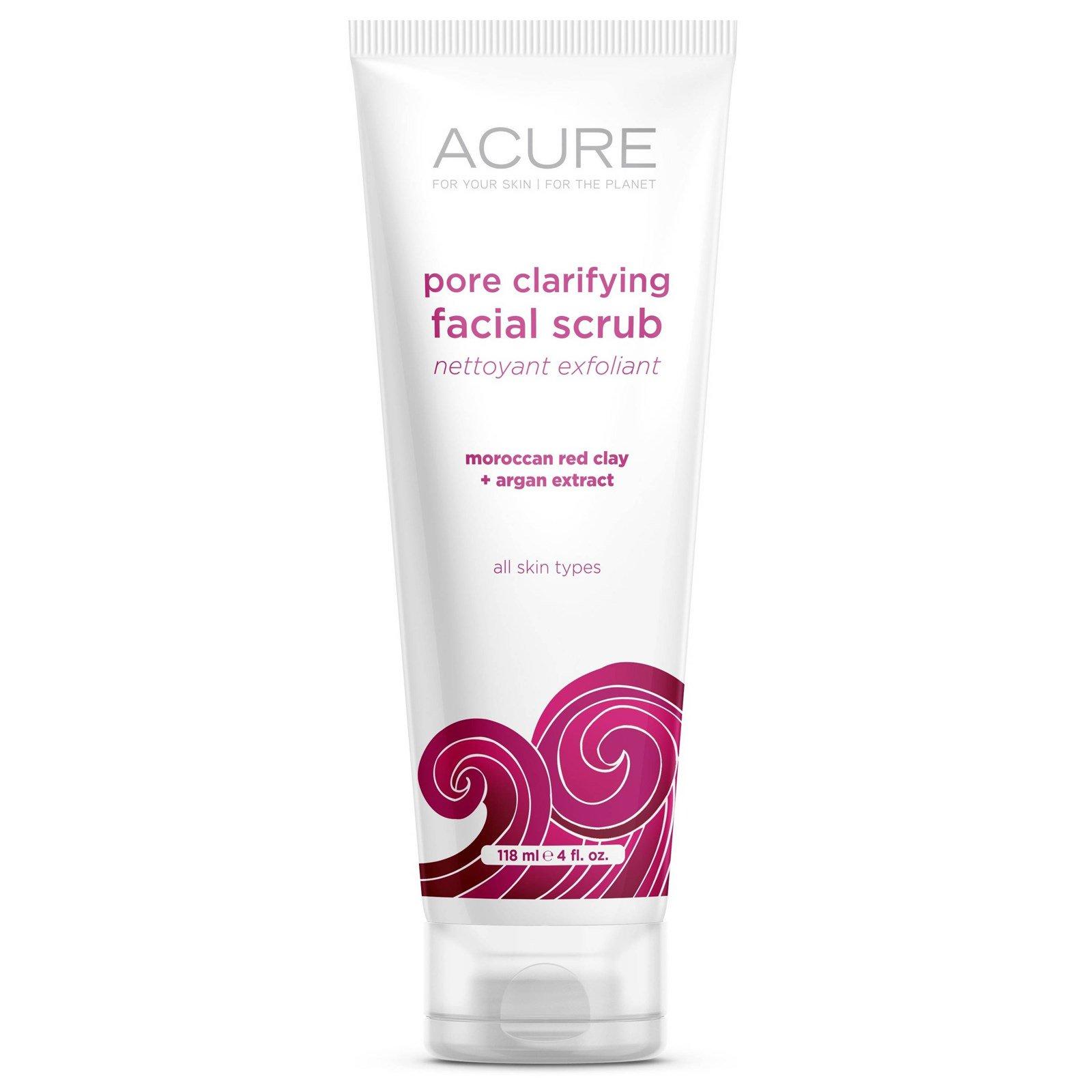 Acure Organics, Очищающий поры скраб для лица, Марокканская красная глина + экстракт аргана, 4 унции (118 мл)