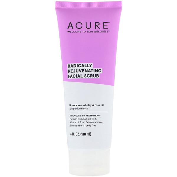 Acure, 노화 원천 방지 페이셜 스크럽, 118ml(4fl oz)