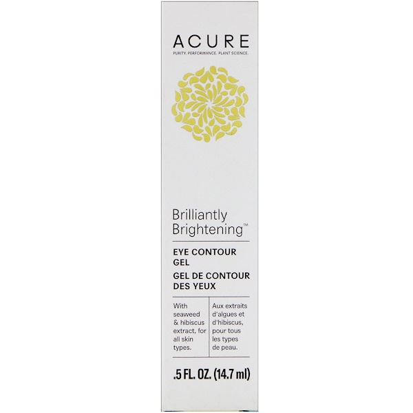 Acure, Brilliantly Brightening, Eye Contour Gel, .5 fl oz (14.7 ml) (Discontinued Item)