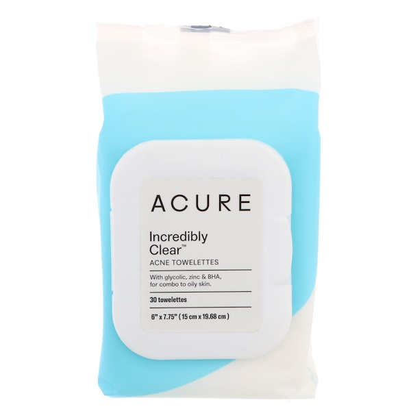 Acure, Incredibly Clear, Acne Towelettes , 30 Towelettes (Discontinued Item)