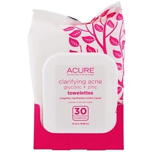 Acure Organics, Очищающие Салфетки с Гликолевой Кислотой и Оксидом Цинка для Лечения Акне, 30 Салфеток купить на iHerb