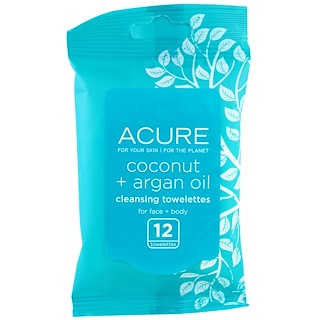 Acure Organics, Cleansing Towelettes, Coconut + Argan Oil, 12 Towelettes