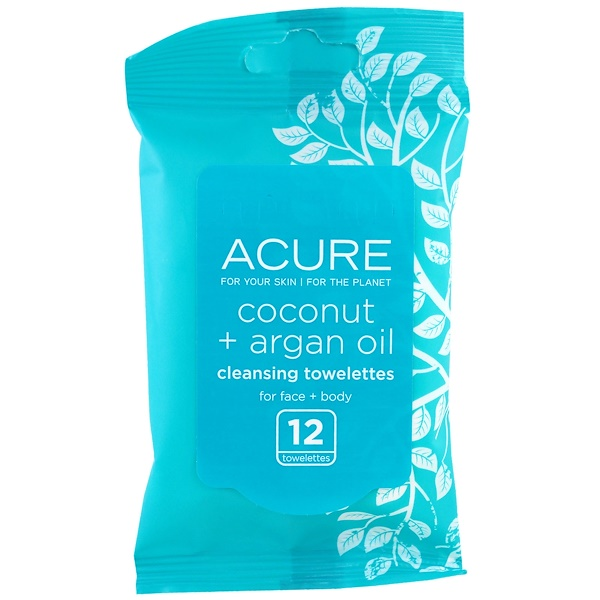 Acure, Cleansing Towelettes, Coconut + Argan Oil, 12 Towelettes (Discontinued Item)