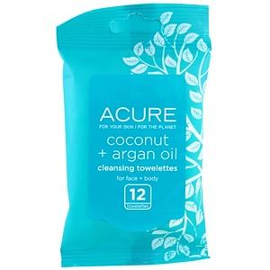Acure Organics, Влажные салфетки, кокос и аргановое масло, 12 салфеток купить на iHerb