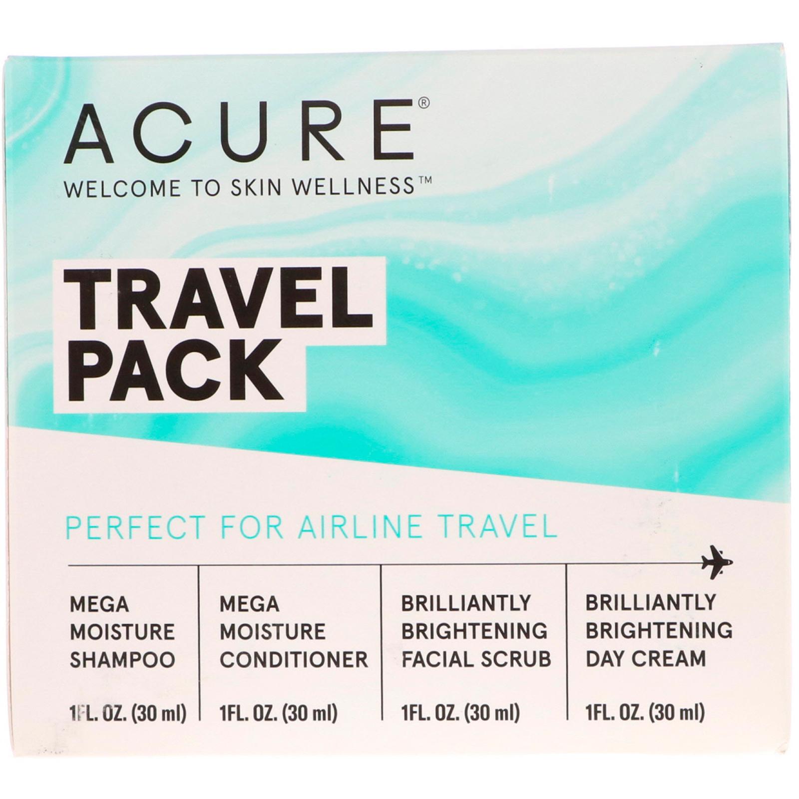 Acure, Travel Pack, Shampoo, Conditioner, Facial Scrub