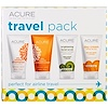 Acure Organics, Travel Pack, Shampoo, Conditioner, Brightening Facial Scrub, Day Cream, 4 Pack, 1 oz (30 ml) Each