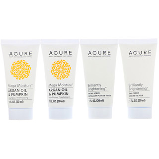 Acure, Travel Pack, Shampoo, Conditioner, Facial Scrub, Day Cream, 4 Pack, 1 oz (30 ml) Each