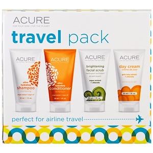 Acure Organics, Пакет для путешествий, шампунь, кондиционер, осветляющий скраб для лица, дневной крем, 4 предмета, по 30 мл (1 унция) каждый купить на iHerb