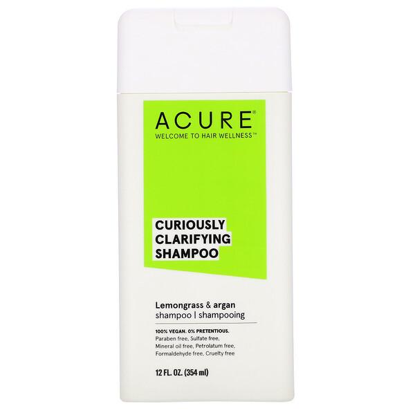 Acure, キュリオスリー・クラリファイング・シャンプー、レモングラス & アルガン、12 fl oz (354 ml)