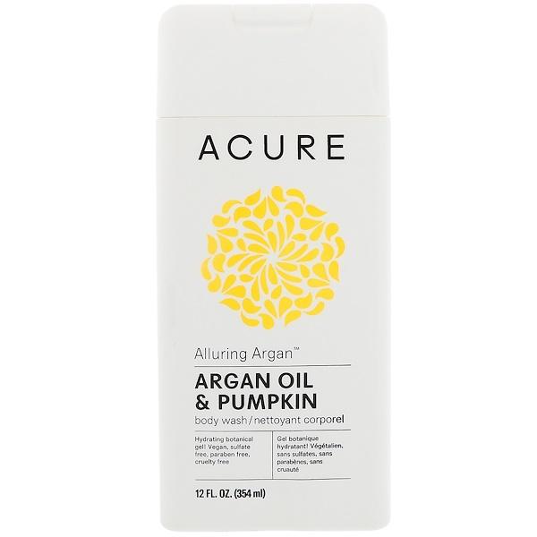 Acure Organics, Alluring Argan沐浴露,摩洛哥堅果油和南瓜,12液量盎司(354毫升)