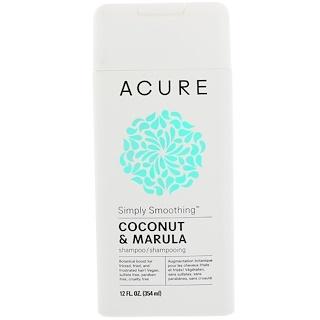 Acure, シンプルなスムージングシャンプー、ココナッツとマルラ、12 fl oz (354 ml)