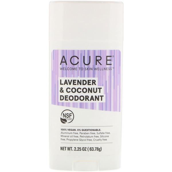 品牌從A - ZAcure類別沐浴露及個人護理個人護理體香劑:Acure, 除臭劑,薰衣草和椰子,2、25盎司(63、78克)