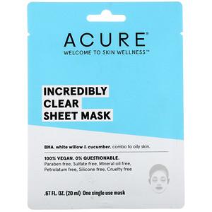 Акьюр Органикс, Incredibly Clear Sheet Mask, 1 Single Use Mask, 0.67 fl oz (20 ml) отзывы