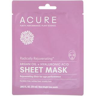 Acure, Radically Rejuvenating Sheet Mask, 1 Single Use Mask, .845 fl oz (25 ml)