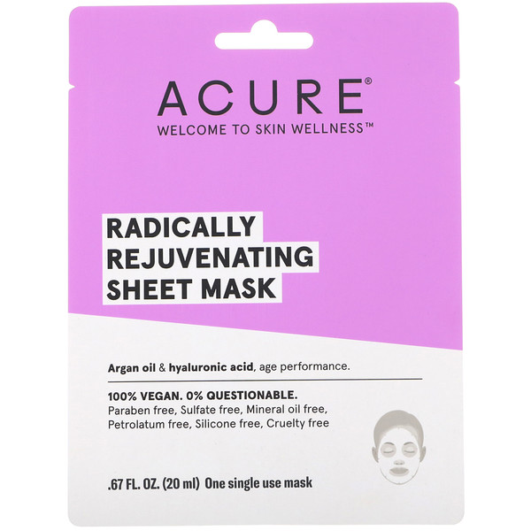 Acure, Radically Rejuvenating Sheet Mask, 1 Single Use Mask, .67 fl oz (20 ml) (Discontinued Item)
