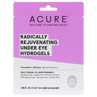 Acure, Radically Rejuvenating Under Eye Hydrogels Mask, 2 Single Use Eye Gels, 0.236 fl oz (7 ml)