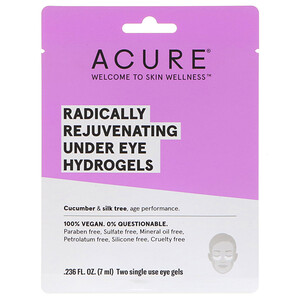 Акьюр Органикс, Radically Rejuvenating Under Eye Hydrogels Mask, 2 Single Use Eye Gels, 0.236 fl oz (7 ml) отзывы покупателей