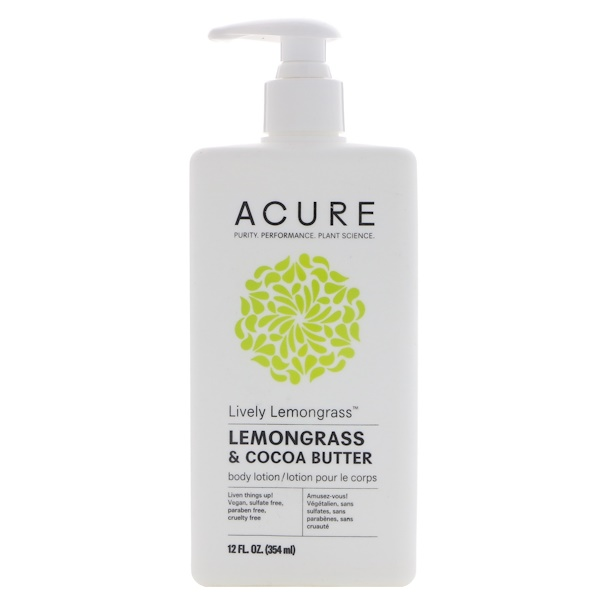 Acure, Lively Lemongrass Body Lotion, Lemongrass & Cocoa Butter, 12 fl oz (354 ml) (Discontinued Item)